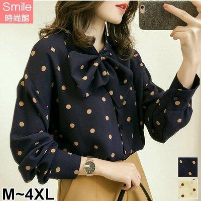 【V3001】SMILE-甜美大方.點點印花蝴蝶結領長袖襯衫上衣