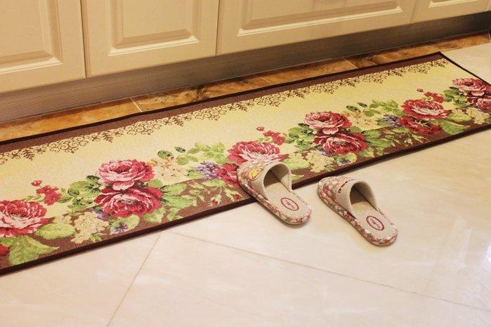 粉紅玫瑰精品屋~玫瑰花語長條厨房地墊防滑脚踏墊~45*180cm