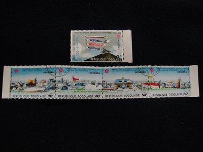 【大三元】非洲郵票-多哥郵票-日本萬國博覽會~銷戳票5枚(1)