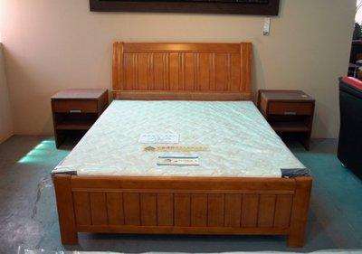 大台南冠均二手貨--全新 橡木實木 5尺雙人床 標準雙人床架 雙人床組 *衣櫃/化妝台/床邊櫃/茶几/電視櫃NO:862