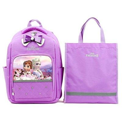 ♀高麗妹♀韓國 Disney FROZEN II 冰雪奇緣2 兒童雙肩護背.透氣書包/背包+提袋組(B款-紫)預購