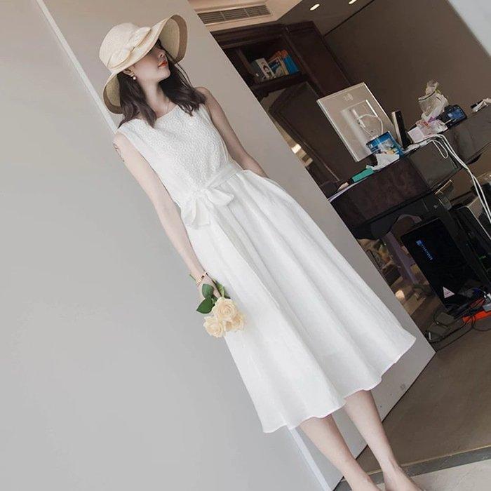 [C.M.平價精品館]L、XL現貨/清新飄逸純白無袖洋裝