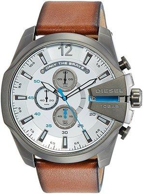 《Vovostore》Diesel DZ4280 大錶面灰框三環棕色皮革錶**附保證書、收據**($4100含郵)