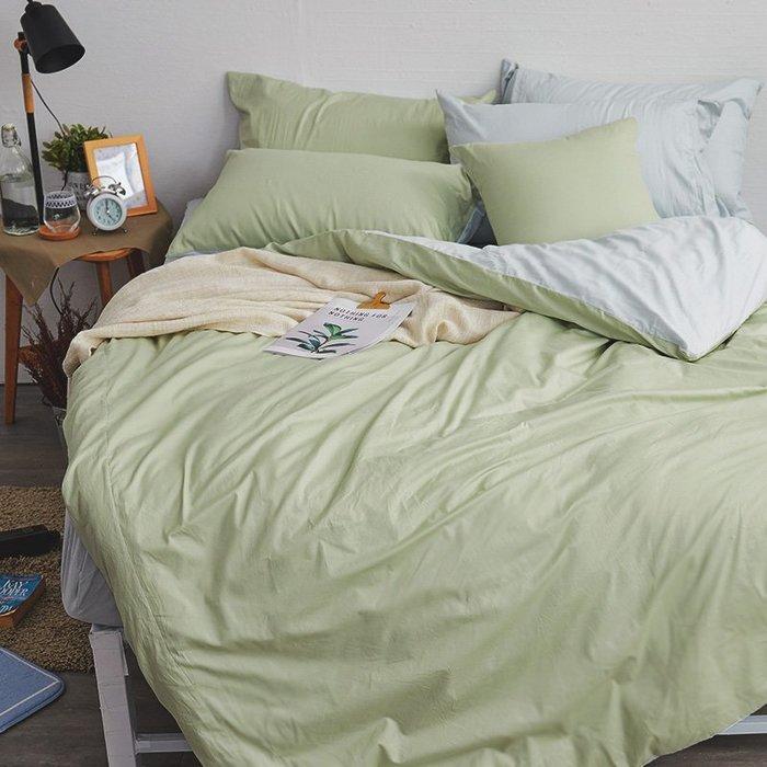 床包兩用被組 / 雙人加大【撞色系列-清新綠】含兩件枕套  100%精梳棉  戀家小舖AAA315