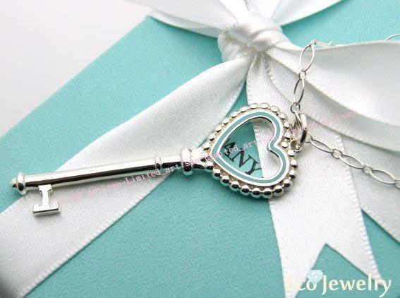 《Eco-jewelry》【Tiffany&Co】 大款藍砝瑯愛心鑰匙項鍊 純銀925項鍊 ~專櫃真品 已送洗