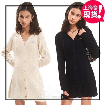 日韓專櫃代購~2色韓國設計師品牌20秋NASTY FANCY時尚紐扣V領針織連身裙