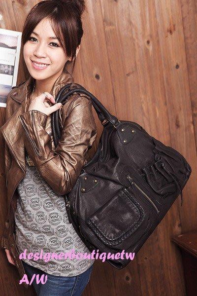 法國設計師品牌BEL AIR口袋真皮手提 黑灰色肩背包 現貨 賠錢低價賣