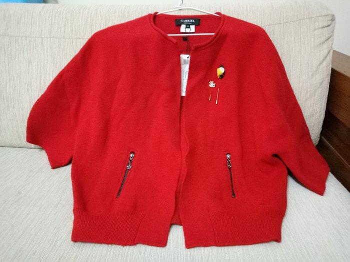 天使熊雜貨小舖~ CABRIEL 紅色針織外套  七分袖外套  義大利製   全新現貨