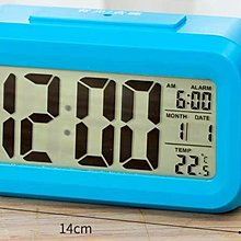 Osmileooo-藍色LED智能感光電子時鐘多功能日期溫度 鬧鐘