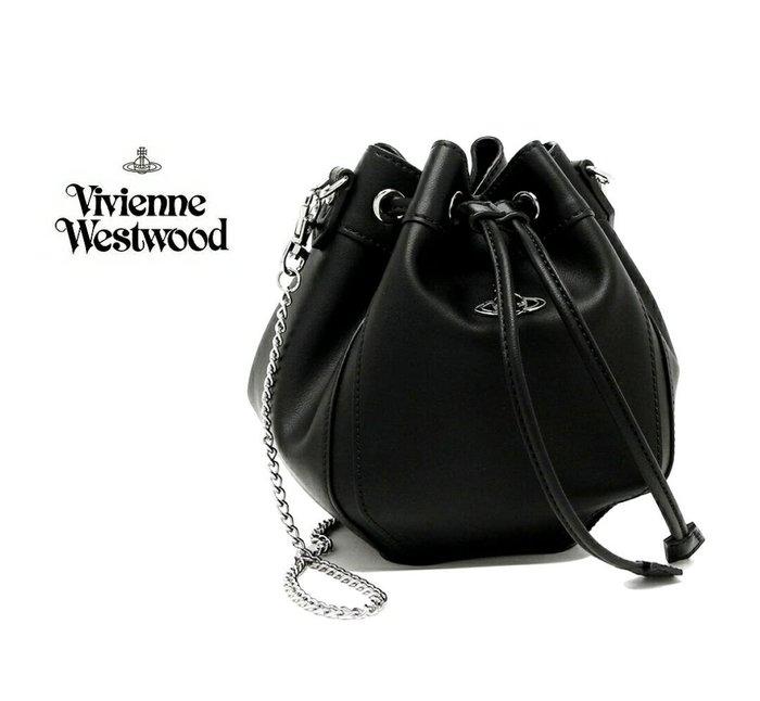 Vivienne Westwood ► ( 黑色×金屬銀色土星 ) 真皮 銀鍊 肩背包 斜背包 側背包|100%全新正品|特價