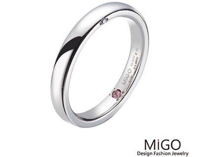 (Hueibe Shop)高質感米格Migo鋼飾珍愛女白鋼戒指 SRD614-11