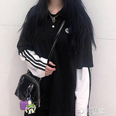 Korea studios.韓國ins復古字母框刺繡三杠假兩件polo長袖 男女潮