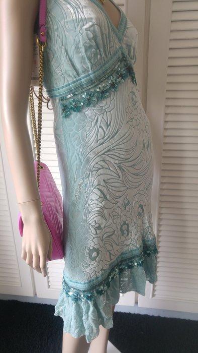全新專櫃購買【BLUGIRL】前後深V湖水綠亮片絲絨洋裝