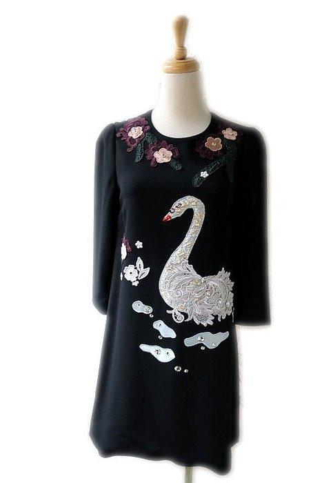 *Beauty*DOLCE&GABBANA黑色天鵝長袖洋裝 38  號   24000  元WE18