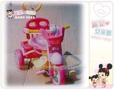 麗嬰兒童玩具館~外銷精品-基本款後控手推三輪車附底盤.粉色kitty貓/藍色