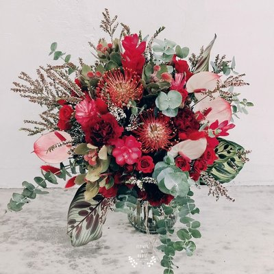 F13。草感森林捧花。紅色系。新娘捧花。拍照手綁花。客製捧花。台北歡迎自取【Flower&House花藝之家】
