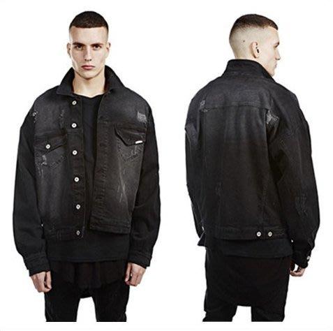 V.W嚴選 破壞黑牛仔外套 424 OVERSIZE 寬鬆 嘻哈 街頭服飾專賣