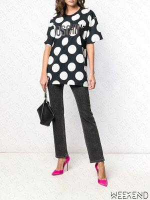 【WEEKEND】 MOSCHINO Logo Polka Dot 寬鬆版 波卡圓點 短袖 T恤 上衣 黑色 19春夏