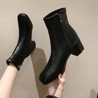 冬季保暖女靴 馬丁鞋 長靴機車靴 韓版百搭女潮鞋秋冬季馬丁靴女英倫風方頭中粗跟側拉鏈短筒短靴子