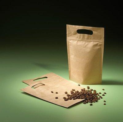 牛皮紙夾鏈站立袋(手提款)1磅/ 20*30+5cm/ 50入/ 275元 瓜子袋  咖啡袋 零食袋 桃園市