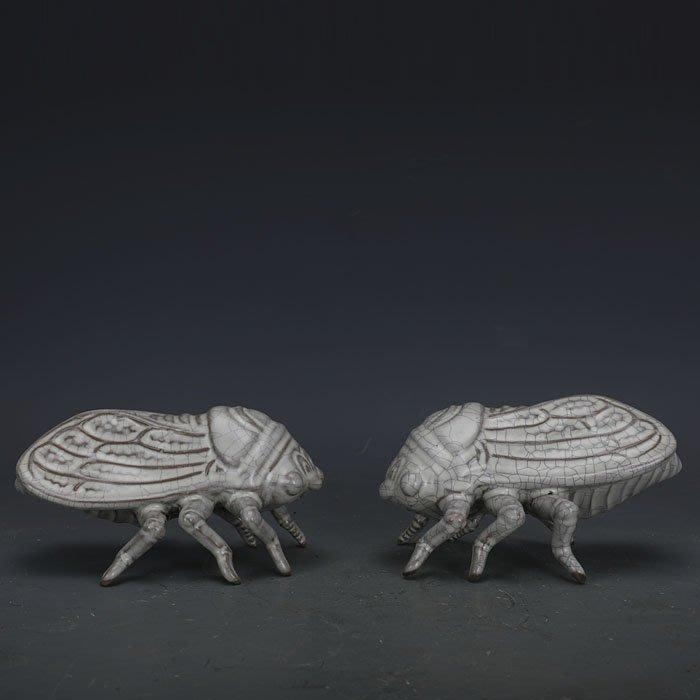 【古玩今典】宋代汝窯白釉雕塑瓷蟬一對做舊仿出土文物古瓷器古玩古董收藏擺件
