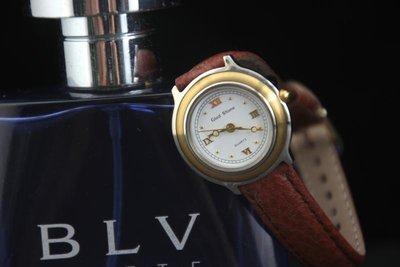台灣品牌glad stone防水石英錶 金色表框;棕色錶帶,日本星晨miyota 2035石英機心