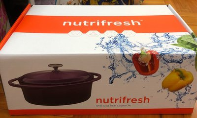 惠康 nutrifresh 紫色 29厘米 4點7公升橢圓形鐵鑄雙耳煲(薰衣草紫)