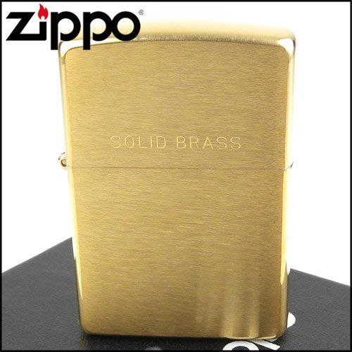 ☆哈洛德小舖☆全新【ZIPPO】美系~Solid Brass~拉絲打磨金色霧面NO.204