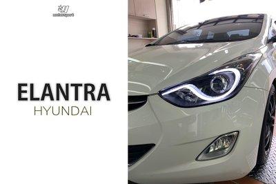 小傑車燈精品--全新 ELANTRA 現代 2012 13 14年 原廠樣式 S型 導光條 R8 燈眉 魚眼大燈