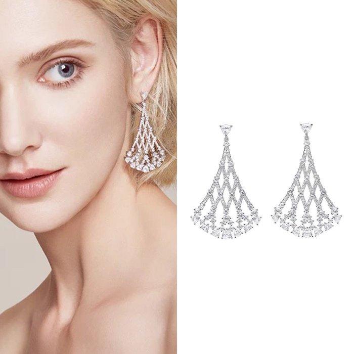 💎1098、(預購)哥德蕾絲系列 高貴扇形網紋輕奢耳環💎正韓 飾品 空運 珠寶 耳環