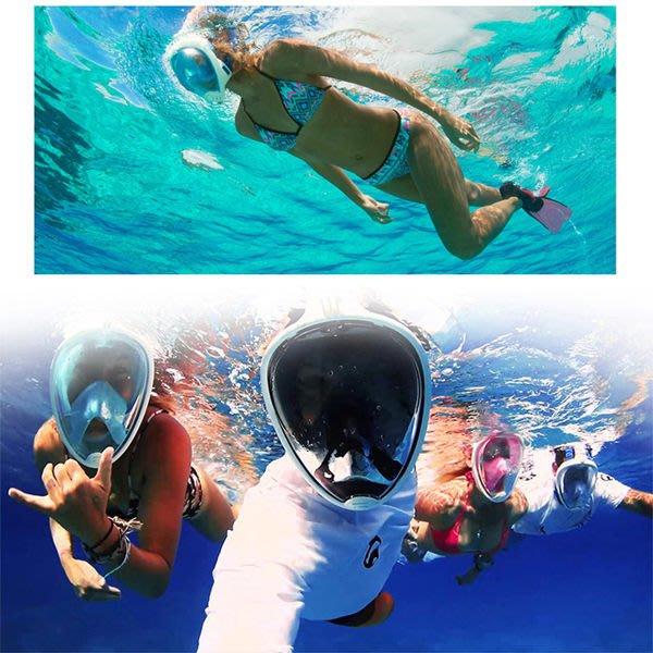 浮潛呼吸面罩 口鼻呼吸 游泳 潛水蛙鏡 浮淺 防水袋 浮潛 【庫奇小舖】【S242】