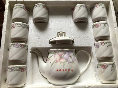 早期大同磁器/大同瓷器/大同窯燒茶具組/大同白瓷/一茶壺10杯/收藏品