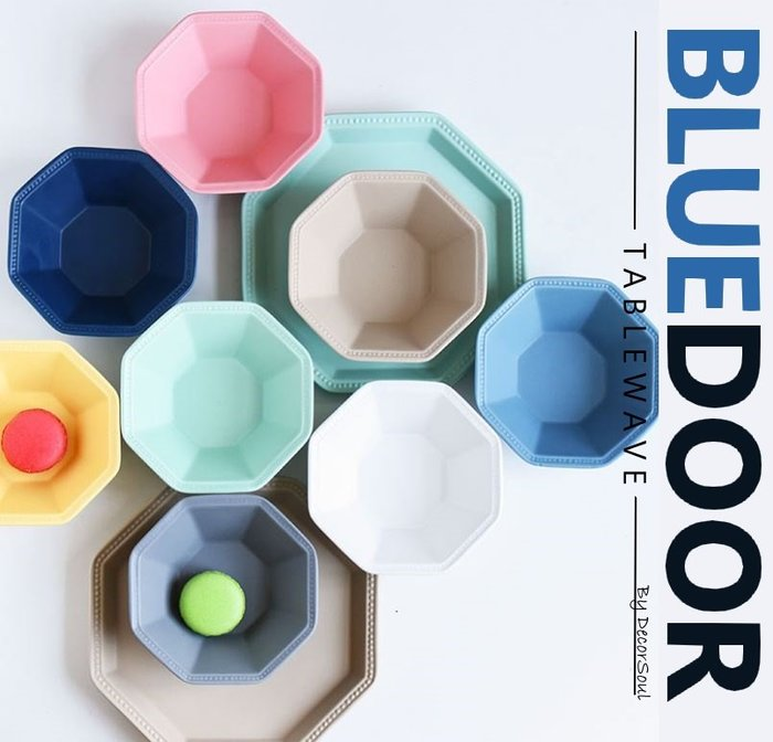 BlueD_ 八角型 5吋碗 飯碗 沙拉碗 湯碗 馬卡龍配色 菜盤 深盤 平盤 沙拉盤 不規則造型 創意設計裝潢 工業風
