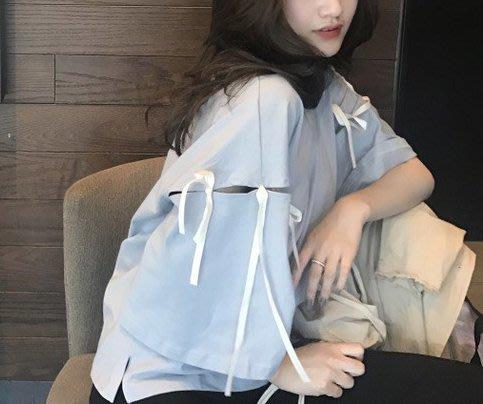 SEYES 日韓雜誌款百搭蝴蝶結緞帶設計感寬袖T恤