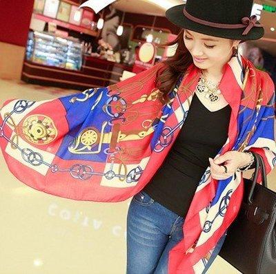 999歐美復古鏈條大方巾 披肩 韓國秋季棉麻絲巾女士圍巾披肩兩用帽子