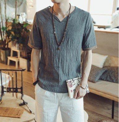 夏季t恤中國風男裝仿棉麻T恤夏季寬鬆短袖大碼T恤薄款中式優質好貨 中式t恤