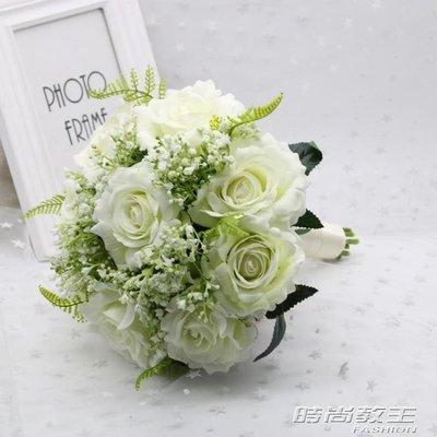 新娘手捧花婚禮紅白仿真玫瑰伴娘結婚森繫小清新婚紗攝影拍攝道具