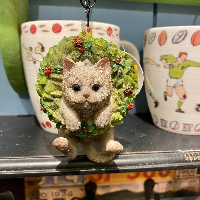 《齊洛瓦鄉村風雜貨》日本zakka雜貨 貓咪系列 可掛式聖誕花圈貓咪 迷你灰貓橘貓花圈造型裝飾 居家佈置 店家聖誕節掛飾