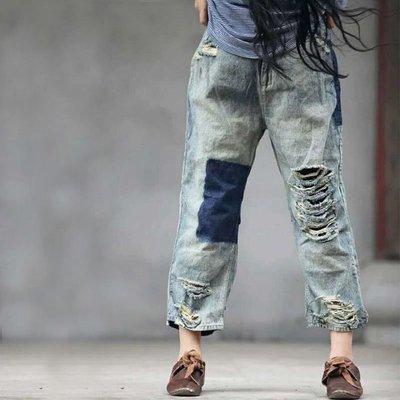 【子芸芳】全棉牛仔做舊磨白寬鬆流浪闊腿破洞牛仔褲
