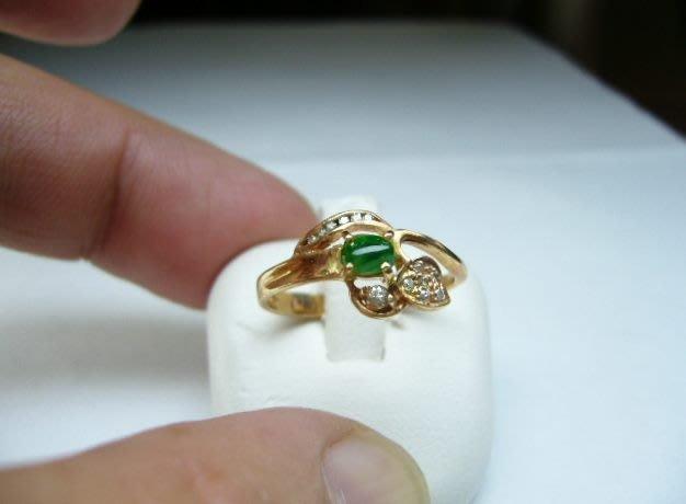 [吉宏精品交流中心]A貨 蛋面 天然翡翠 天然鑽石 黃K金 造型 戒指(1)
