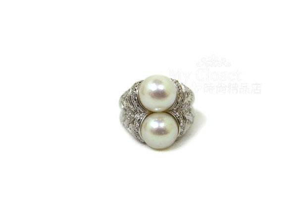 My Closet 二手名牌 BVLGARI 高貴款 雙珍珠鑲鑽戒指