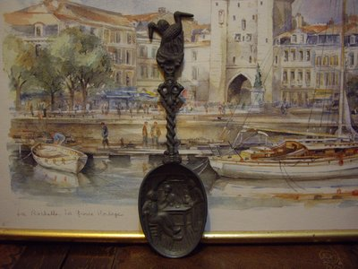 歐洲古物時尚雜貨 荷蘭 雕刻湯匙 人物雙鴨 銅雕 擺飾品 古董收藏