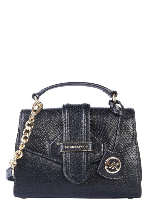 美國名牌 Michael Kors Satchel 專櫃款黑色蟒蛇紋皮革手提/斜背包(小款)現貨在美特價$5680含郵