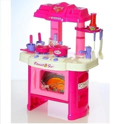 *歡樂屋*.....// 粉色新款.立式微波爐款廚房組//.....家家酒首選