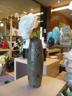 台中裝飾品☆LOOK DECOR樂可裝飾☆月球表面花瓶【亮光咖啡釉】B2