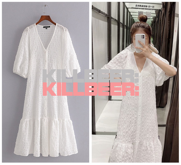 KillBeer:仙女是怎樣煉成的之 歐美復古氣質優雅裸白立體紋理抓皺泡泡袖V領排扣連身裙長洋裝A073001