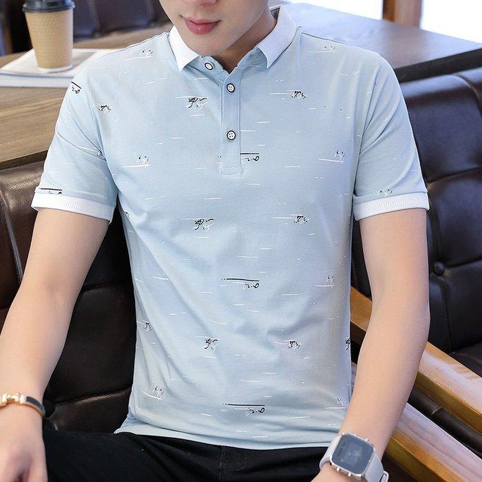 夏季T恤男短袖純棉花上衣服帶領有領韓版修身半袖Polo體恤衫潮T桖 POLO衫 男士衣著 短袖 大尺碼 素面衫