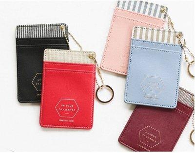 韓版優雅鑰匙圈信用卡悠遊卡套 酒紅色