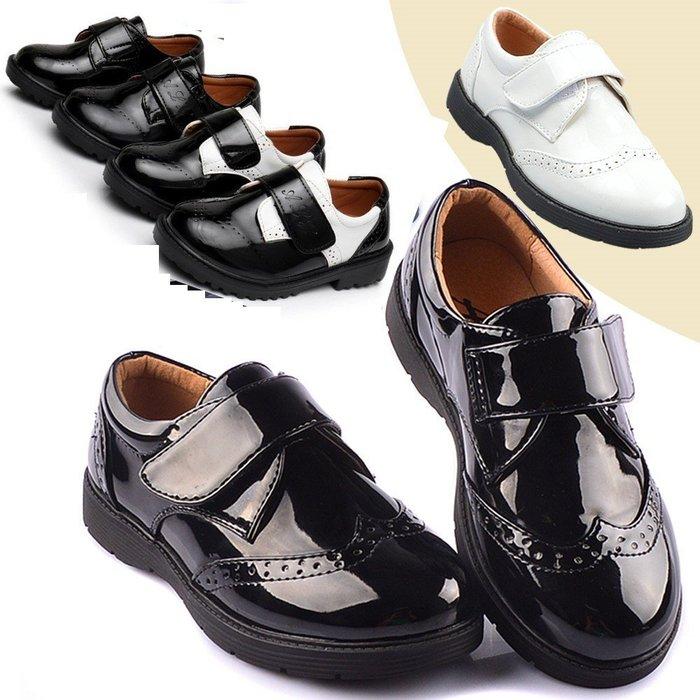 男童白色皮鞋英倫風皮鞋表演出鞋中大童鞋單鞋兒童小白鞋  26-42碼☆百變花 yang☆