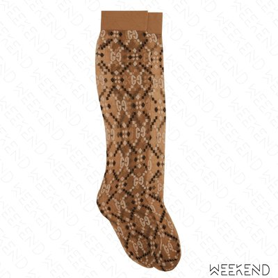 【WEEKEND】 GUCCI Logo 菱格紋 長襪 透視 米黃色 棕色 19春夏